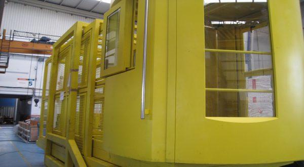 Cabina telescópica para torno vertical